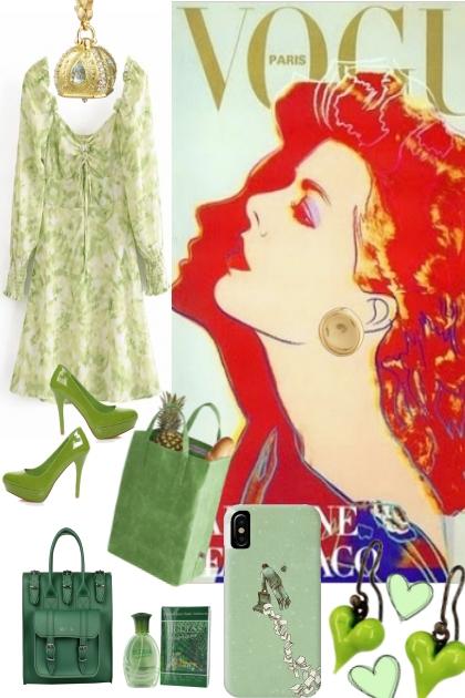 GREEN PRINT TREND ME DRESS 8221