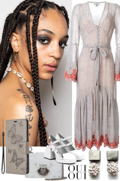 GRAY DRESS WITH ORANGE TRIM
