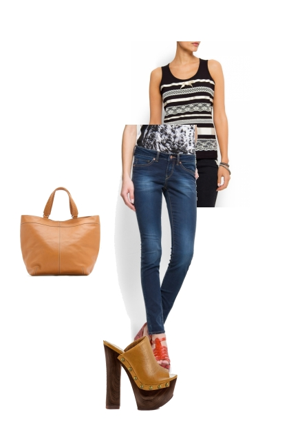 Tank top and jeans.