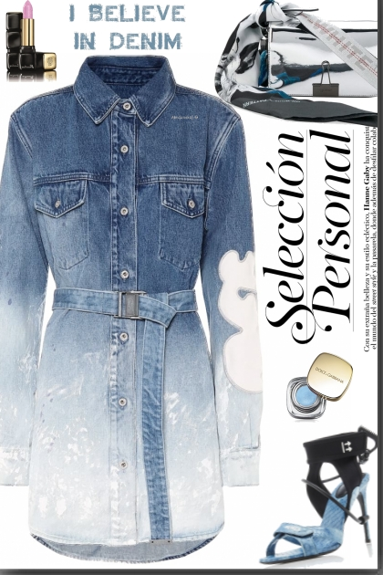 Gradient Denim Shirt Dress