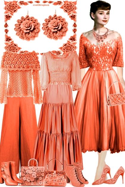 Серьги. Розы. Яркий апельсин - Fashion set