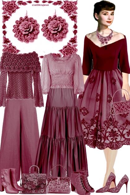 Серьги. Розы. Малиновый 2- Fashion set