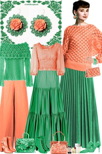 Серьги. Розы. Зелёный. Оранжевый 8г