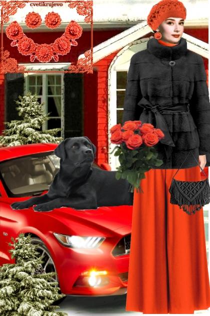 Набор. Розы. Красный. Чёрный. Пейзаж 2