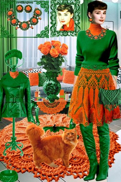 Набор. Розы. Зелёный. Оранжевый. Интерьер 3_я