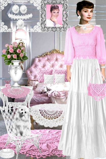 Набор. Камея. Белый. Розовый Чокер. Интерьер