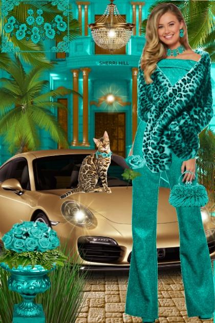 Набор. Милен. Бирюзовый. Леопард. Пейзаж 22- Fashion set