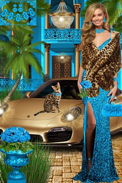 Набор. Милен. Голубой пейзаж 2 леопард
