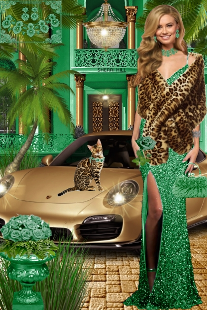 Набор. Милен. Зелёный. Леопард. Пейзаж 444
