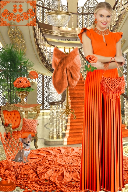 Набор. Милен. Оранжевый. Интерьер. Брюки