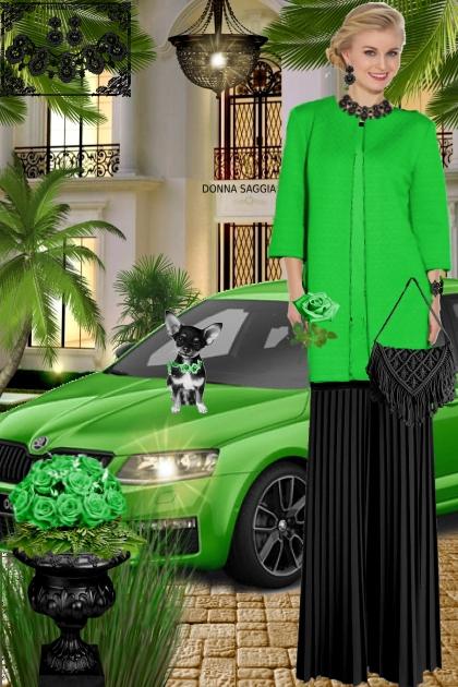 Набор. Милен. Чёрный. Зелёный. Пейзаж. Брюки
