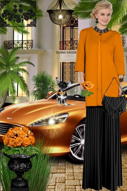 Набор. Милен. Чёрный. Оранжевый. Пейзаж. Брюки1