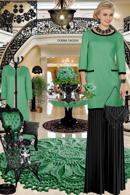 Набор. Милен. Чёрный. Зелёный 2. Интерьер брюки