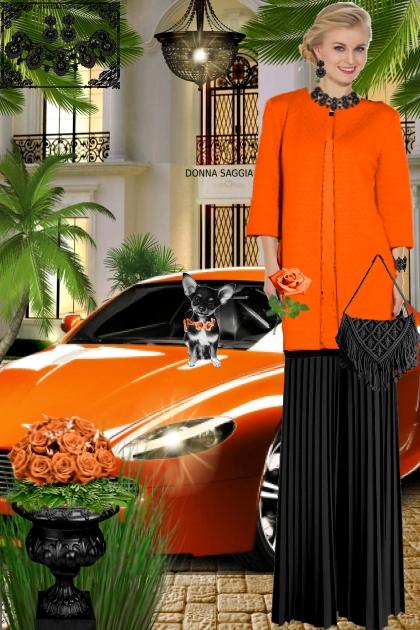 Набор. Милен. Чёрный. Оранжевый. Пейзаж. 2.брюки