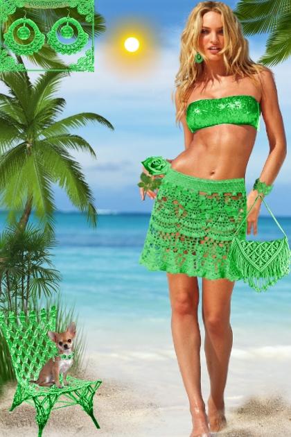 Серьги. Кармен. Зелёный. Пляж
