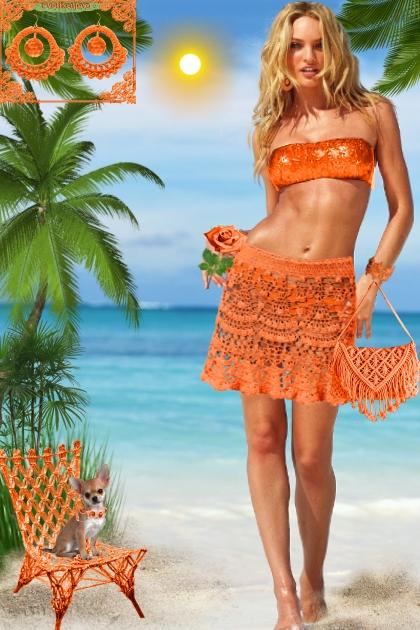 Серьги. Кармен. Оранжевый. Пляж