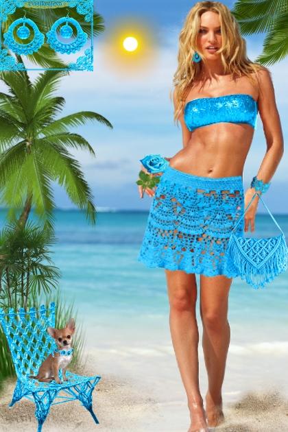 Серьги. Кармен. Голубой. Пляж