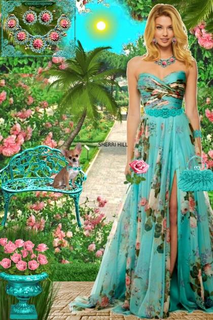 Набор. Розы. Бирюза. Розовый. Сад