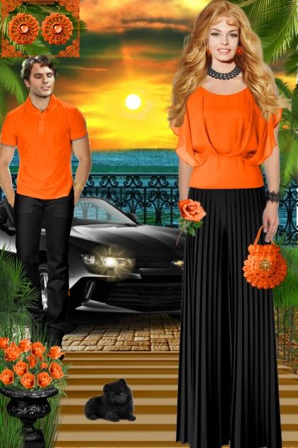 Серьги. Фриформ. Оранжевый. Лето0003