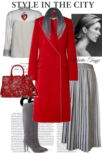 Stella McCartney red with white coat