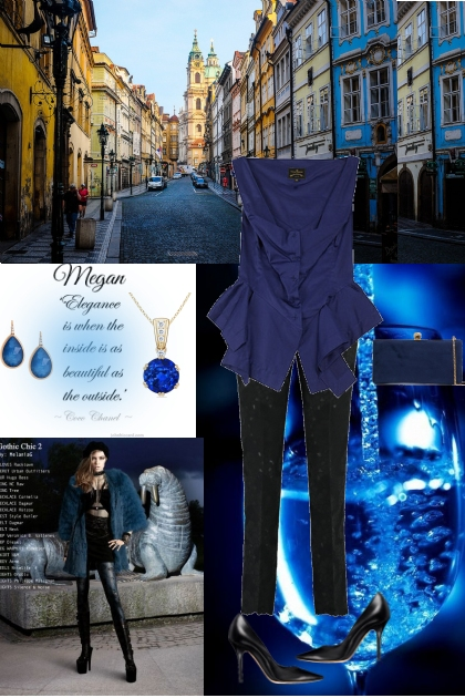 Midnight  Sappire Top and Midnight Cigarette Pants