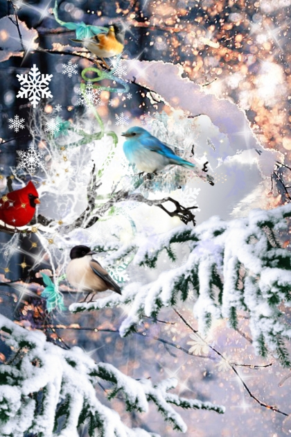 Birds in the Winter Forest