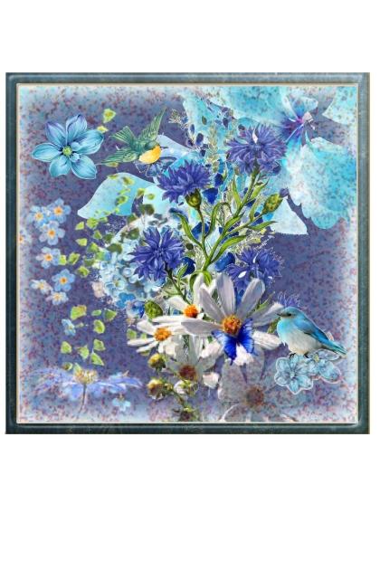 Blue birds & flowers