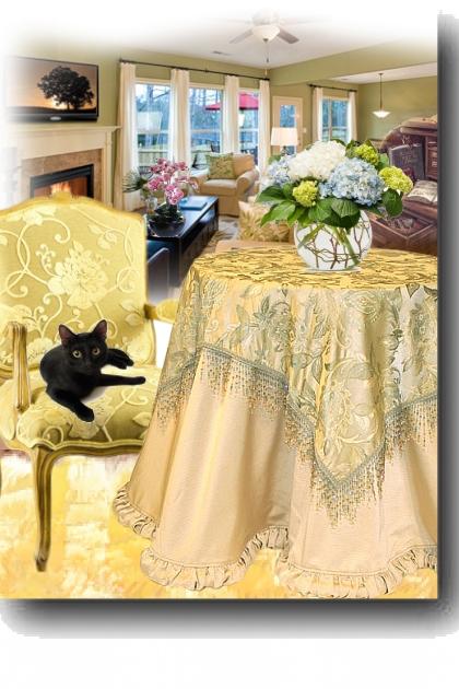 A black cat in an armchair