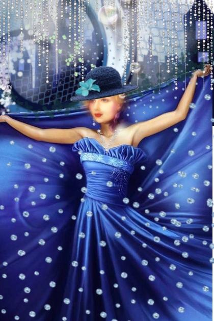 A polka dot blue dress