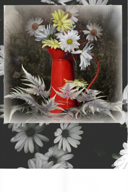 Daisies in a red jug