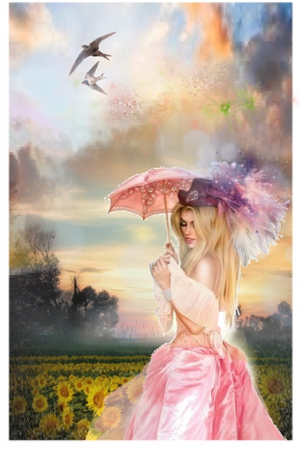 A girl with a pink parasol