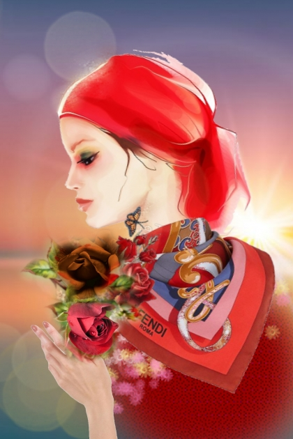 A girl with red roses