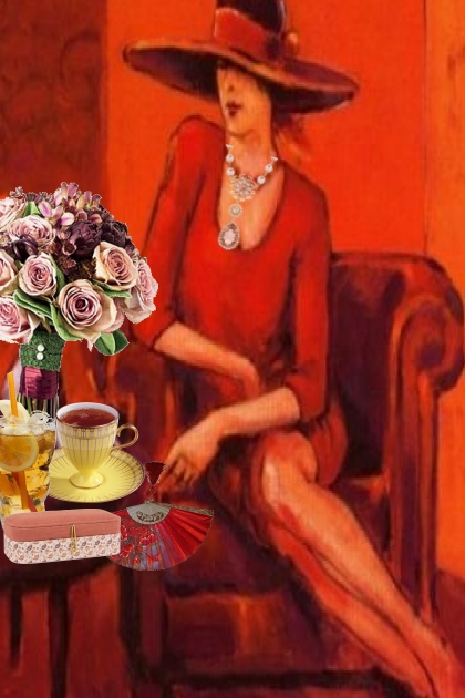 A woman in red