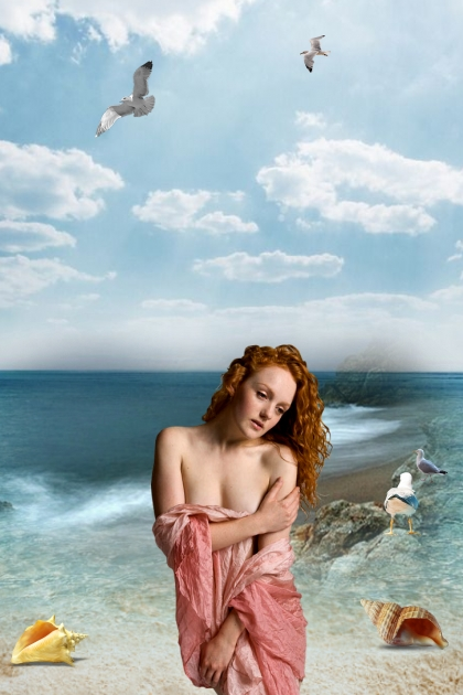 A girl on the sea shore