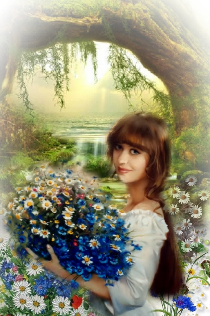 A girl with daisies and cornflowers