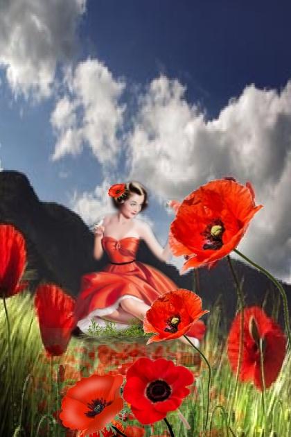 A girl on a poppy field