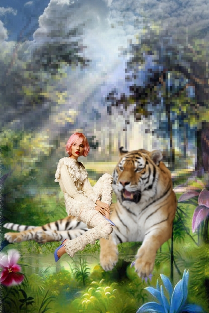A girl with a tiger