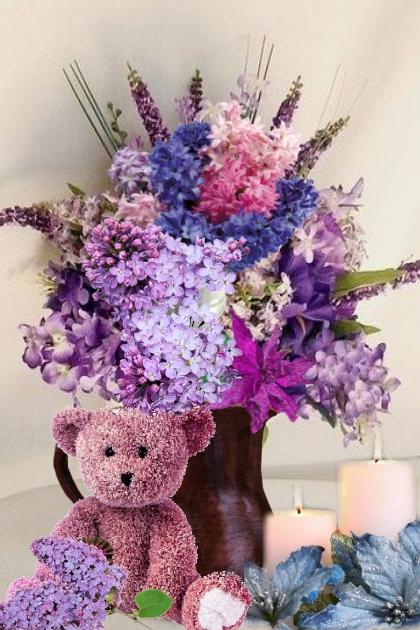 Teddy bear with flowers- Fashion set