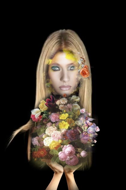 A blonde with flowers