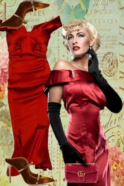 A red satin dress