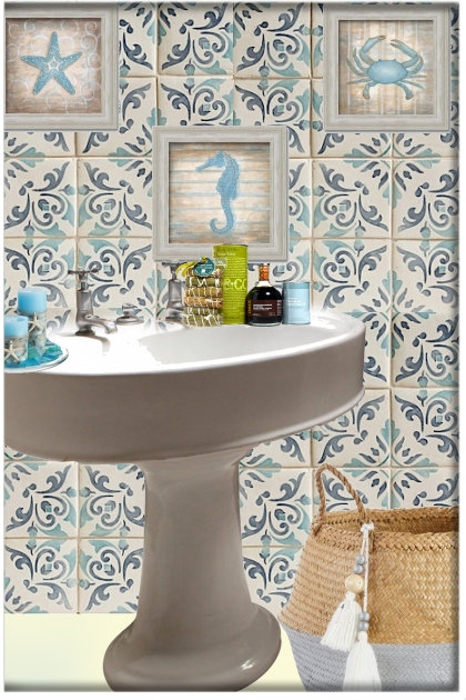 A bathroom with the sea motive