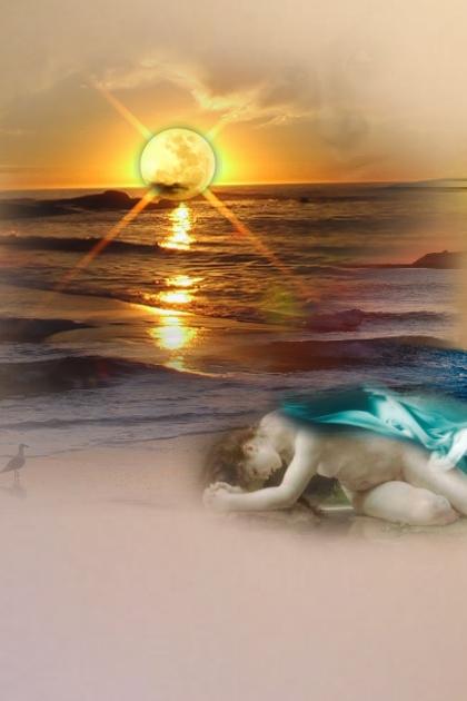 A woman on the sea shore