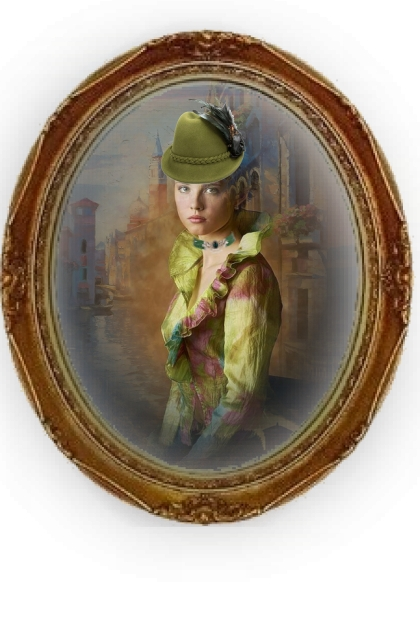 A girl in green