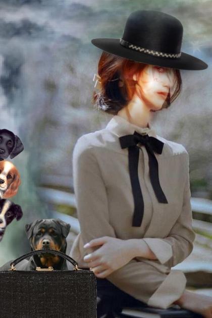 A girl with a black bow- Fashion set