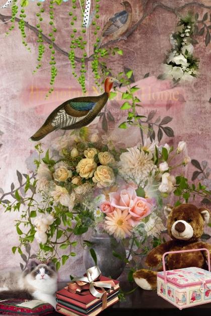 Pets among flowers