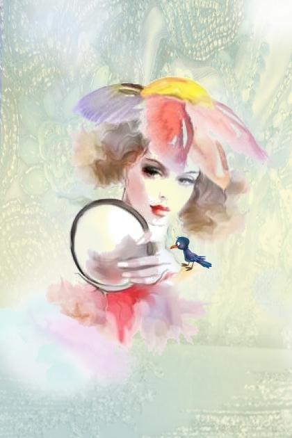 A girl with a bird and a mirror