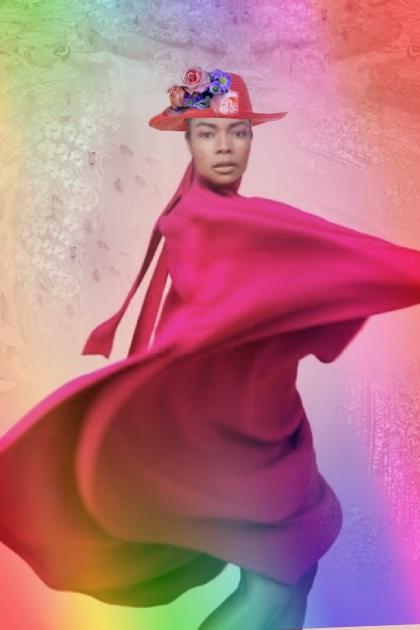 Fuchsia cape- Fashion set