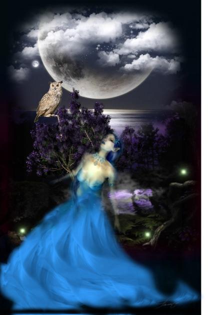 Night. The Moon. An owl