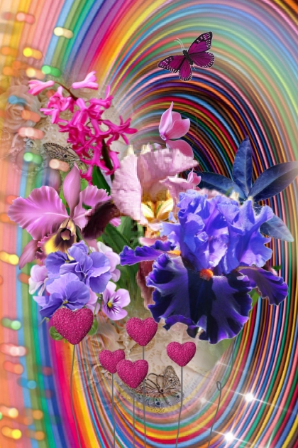 Rainbow bouquet- Fashion set