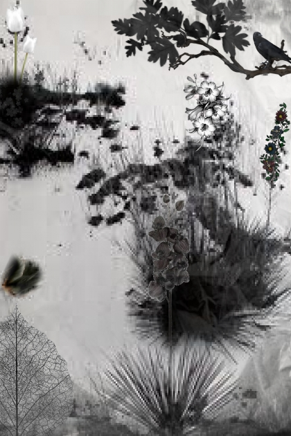 Black floral motif